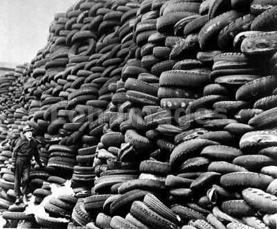 Piles of scrap rubber during WWII