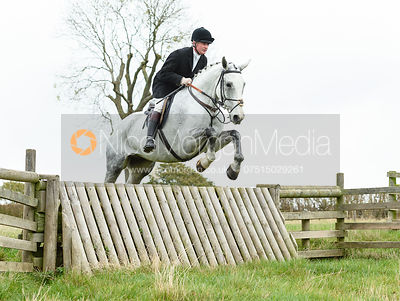 Nick Wright jumping a hunt jump near Peake's. The Cottesmore Hunt at Somerby