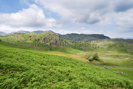 Views of the mountains of Coniston Fells in the English Lake District