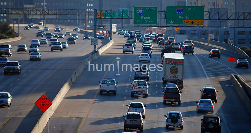 Rush hour traffic on busy highway in Texas