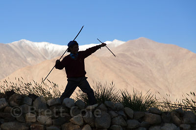 Boys stickfighting in Saboo village, Ladakh, India