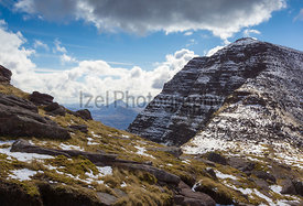 Ben Alligin, looking back at Sgurr Mhor from the base of Na Rathanan and it's pinnacled ridge.