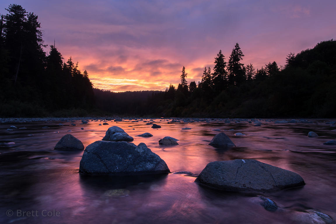Sunset over the Smith River in Hiouchi, Jedidiah Smith Redwoods State Park, California