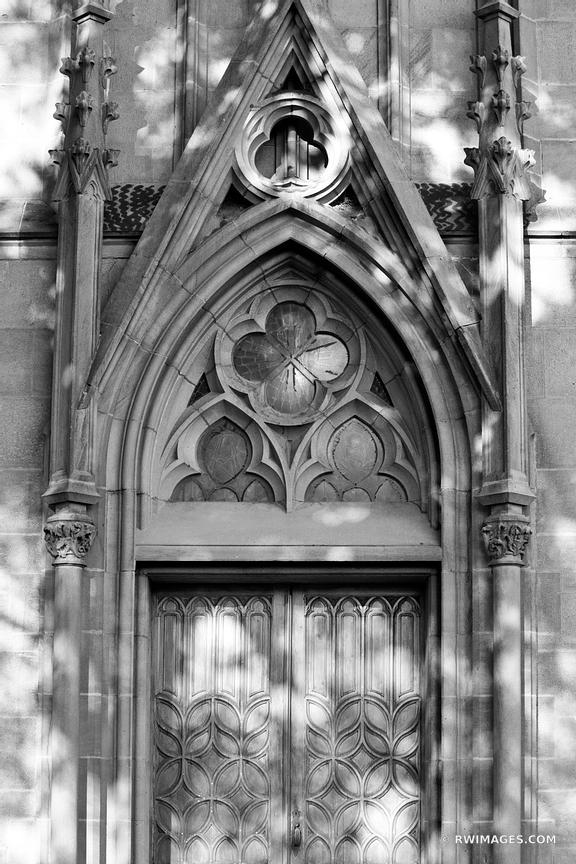 LORETTO CHAPEL DOOR SANTA FE NEW MEXICO BLACK AND WHITE