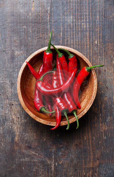 Red Hot Chili Peppers in wooden bowl on old wooden background