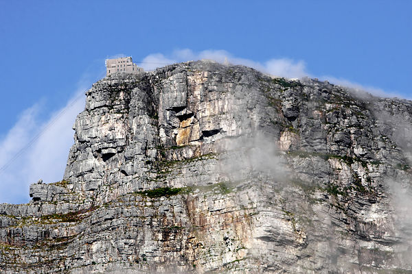Distant view of the cablecar that transports tourists to the summit of Table Mountain, Cape Town, South Africa
