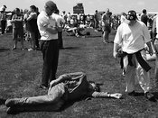 a man lies on the ground at Culdrose Air Day