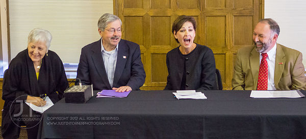 Sally Mason, President, University of Iowa; Gov. Terry Branstad; Lt. Gov. Kim Reynolds; and Steven Leath, President, Iowa Sta...
