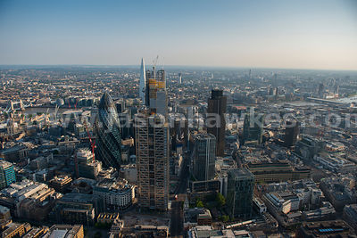 London. Aerial view of the skyscrapers in the City of London