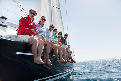 Team of six on yacht