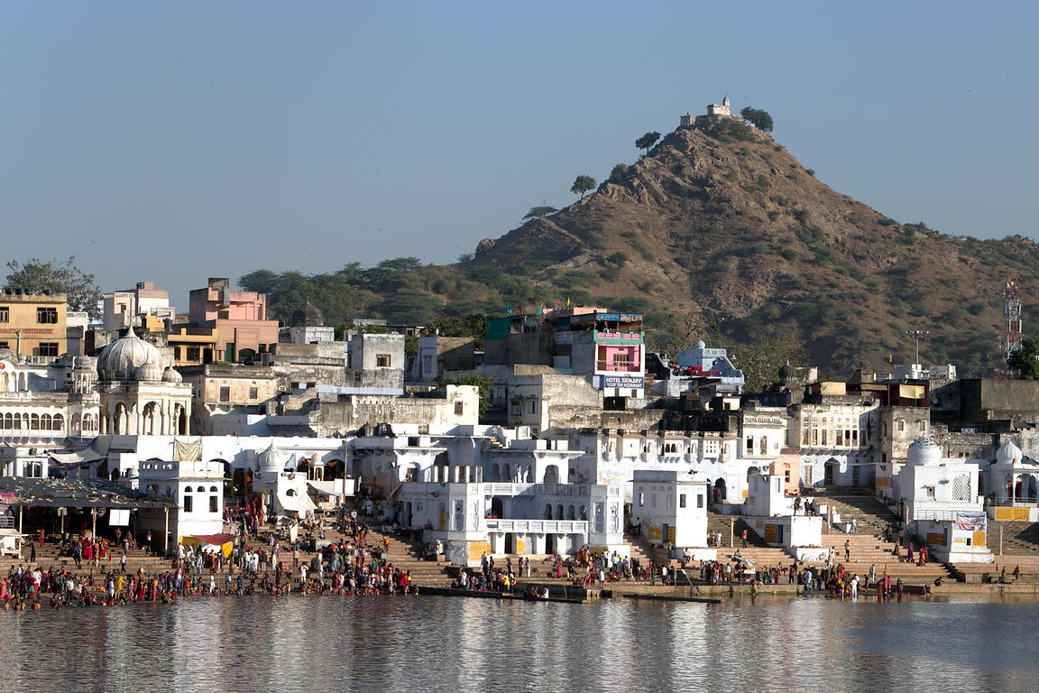 Pushkar Lake and Gayatri temple, Pushkar, Rajasthan, India