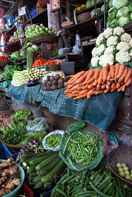 Fanstastic assortment of organic vegetables at a stall in Crawford Market, Mumbai, India.