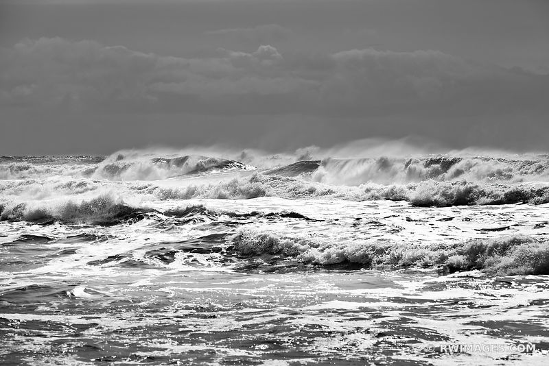 PACIFIC OCEAN WAVES RIALTO BEACH OLYMPIC NATIONAL PARK BLACK AND WHITE OCEAN PHOTOGRAPHY