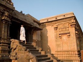 India - Thanjavur - A man enters the Brihadishwara Temple
