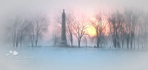 Perry's Monument during a Snowy Sunrise