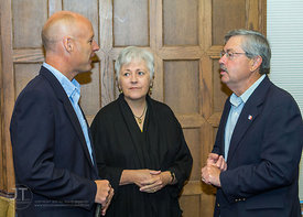 Ken Johnson, Acting Chief Programs Officer, FIRST; Sally Mason, President, University of Iowa; and Gov. Terry Branstad; brief...