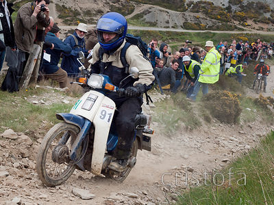 the rider of the little Yamaha T80 does well on the steep Blue Hills section of the Land's End Trials