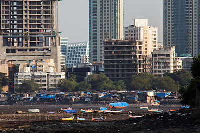 Mumbai, India downtown from Worli.