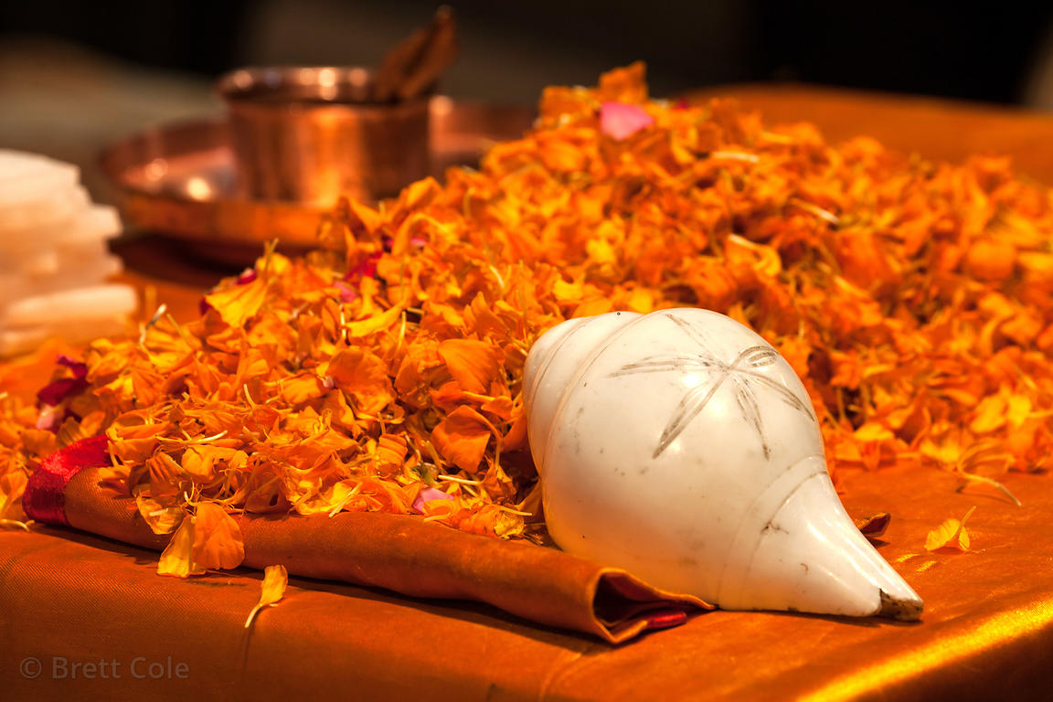 Conch shell used for Hindu prayer. Ganga aarti on Dashashwamedh ghat, Varanasi, India.