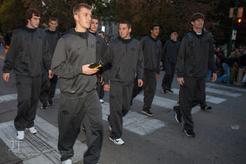 The University of Iowa basketball team passes by during the  University of Iowa homecoming Parade in Iowa City on Friday Sept...