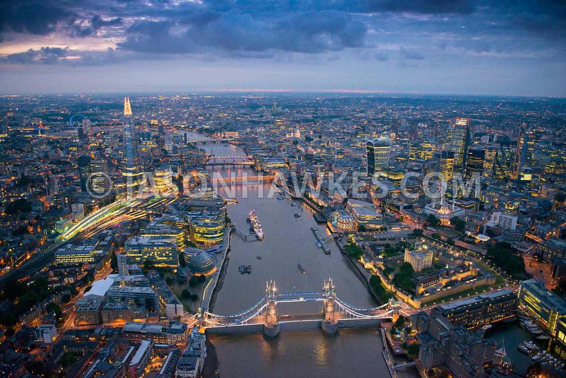 Tower Bridge and London aerial view