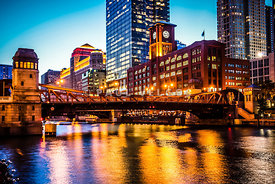 Picture of Chicago at Night with Clark Street Bridge