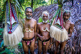 Village men in traditional costume, Ambrym Island