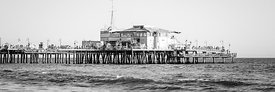 End of Santa Monica Pier Black and White Panorama Photo