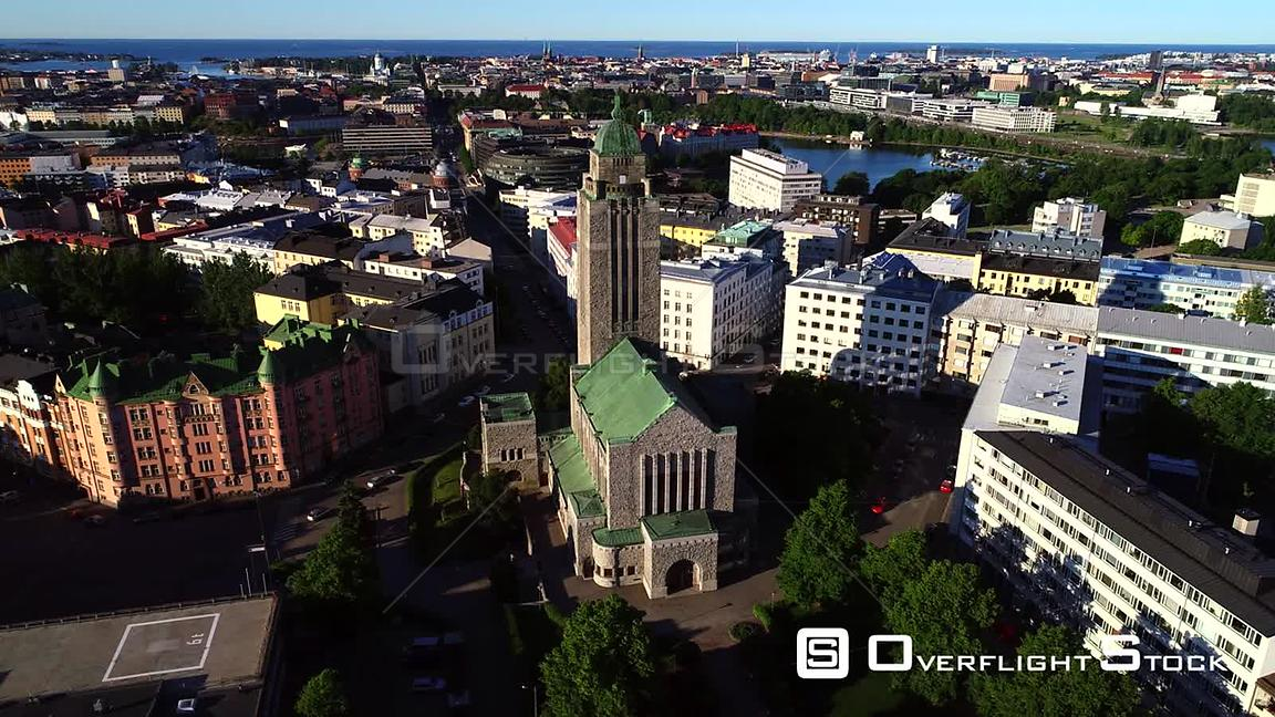Helsinki Church, Uhd Aerial Tracking View Around the Kallio Cathedral, on a Sunny Summer Morning Dawn, in Helsingfors, Uusima...