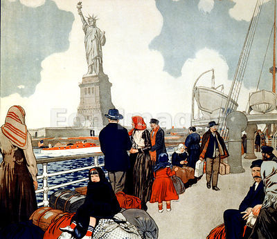 Ship bearing immigrants approaches Statue of Liberty