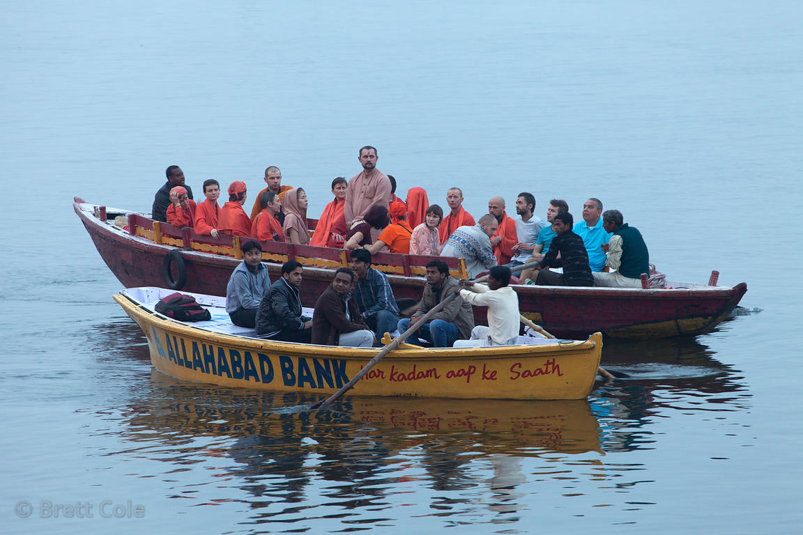 Russian pilgrims on the Ganges River, Varanasi, India.