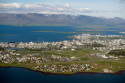 Aerial view of Reykjavik, Iceland, June 2014.