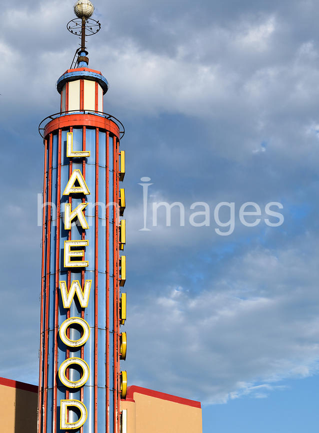 Lakewood Movie Theater Sign in Dallas, Texas (Lakewood Neighborhood).