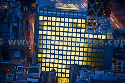 Aerial view of 6 Bevis Marks at night, London