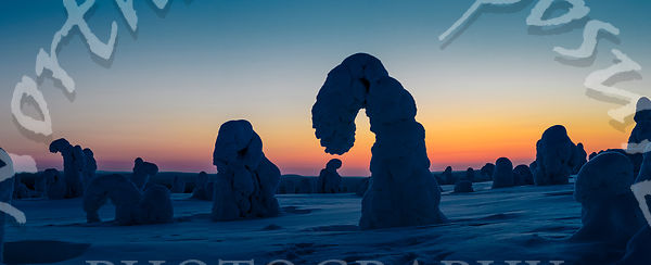 Hook Tykkylumi Silhouettes at Sunsets Blue Moment in Panorama