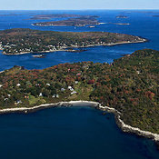 Cushing Island and Peaks island.  Casco Bay, Portland