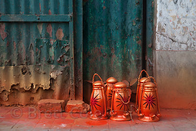 Lanterns are painted at a workshop in Kumartoli, Kolkata, India.