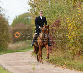 Angus Smales on Newbold Road. The Cottesmore Hunt at Somerby