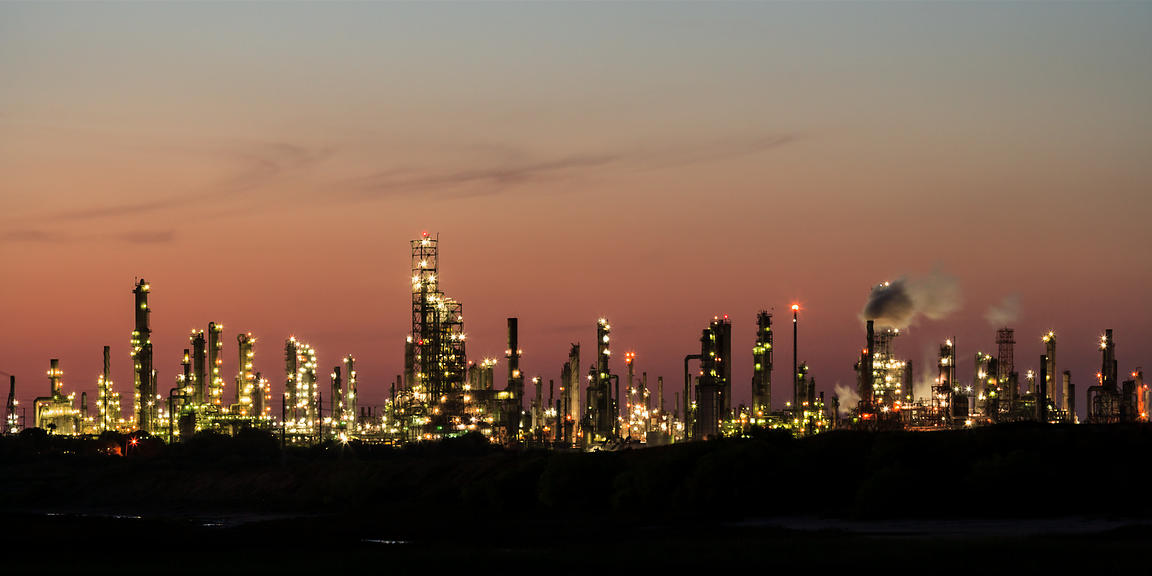 Oil Refinery at Dusk Panorama