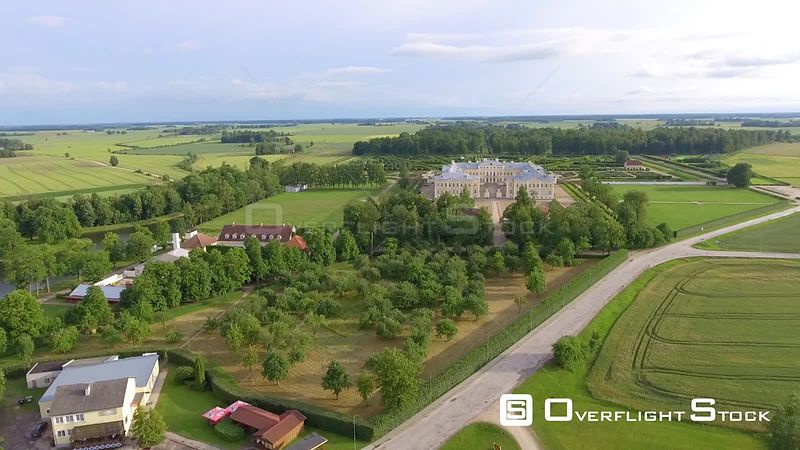 Beautiful aerial view of Rundale Castle and gardens in Latvia