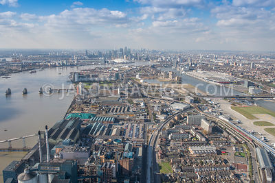 Aerial view of London, The Royal Docks and Silvertown.