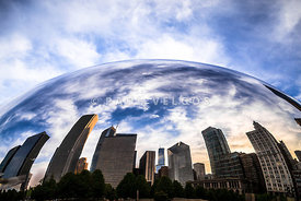 Chicago Cloud Gate Bean Chicago Skyline Reflection