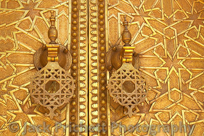 Golden doors to Royal Palace in Morocco.