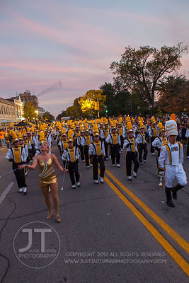 The University of Iowa marching band passes by during the  University of Iowa homecoming Parade in Iowa City on Friday Septem...