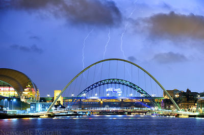 Lightning behind the Tyne Bridge