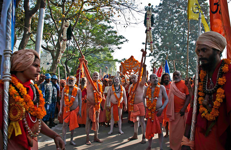 This photograph was taken during a procession at the Kumbh Mela, Allahabad
