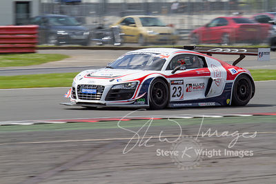 United Autosports' Audi R8 LMS Ultra in action at the Silverstone 500 - the third round of the British GT Championship 2014 -...