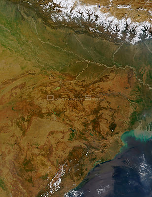 EARTH India -- 17 Mar 2002 -- This true-color MODIS image depicts northeastern India (center, left, and bottom), Nepal (above...