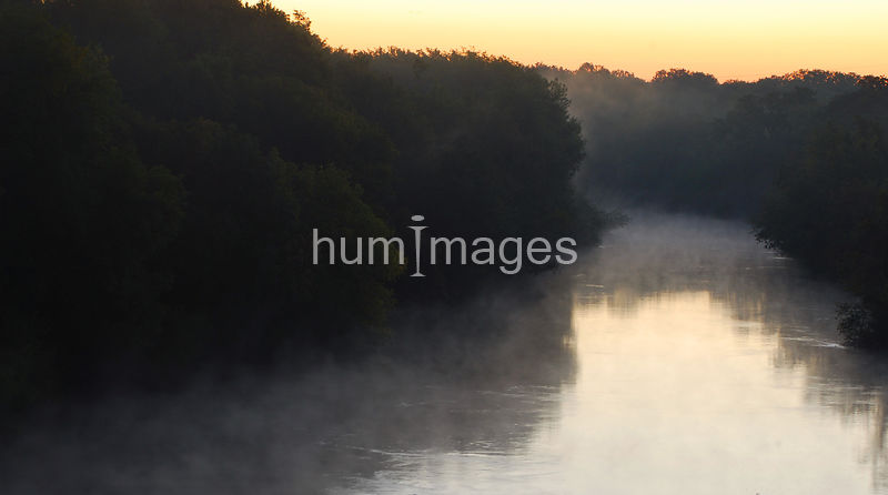 Foggy morning at sunrise on the Trinity River in Irving, Texas