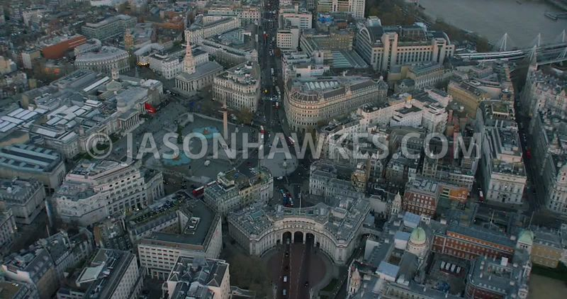 Aerial footage of Admiralty Arch and Trafalgar Square